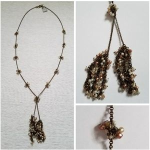 Nwt J. Jill tassle necklace beads bead clusters